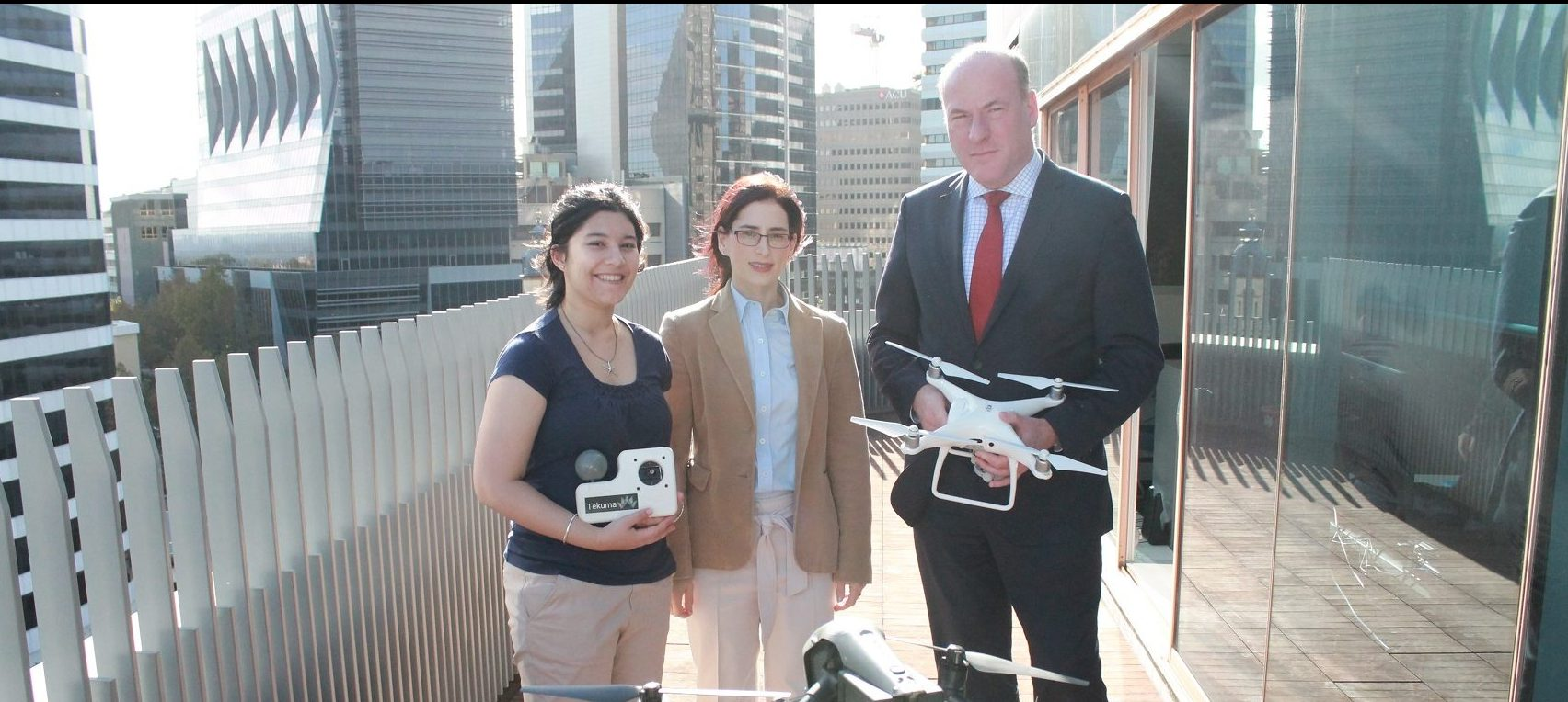 (L-R) Annette McClelland, Shireen Bernstein and Trent Zimmerman with drones in North Sydney, launching the NSIN's Drone Report (April 2018).