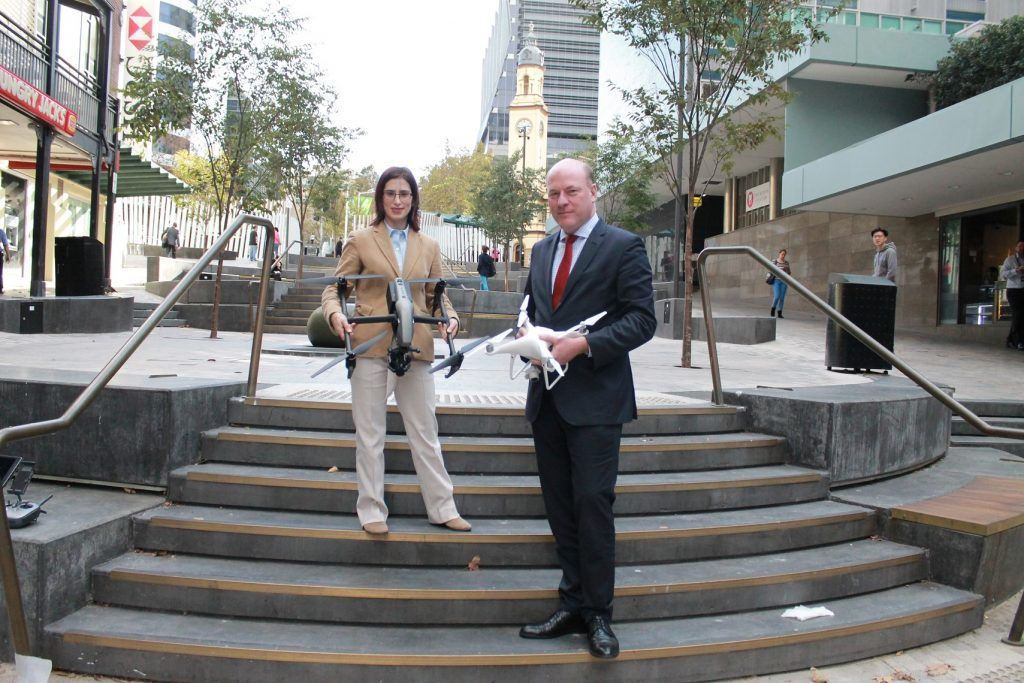 Shireen Bernstein and Trent Zimmerman with drones in North Sydney, launching the NSIN's Drone Report (April 2018).
