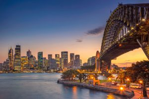 North ydney. cityscape image of sydney, australia with harbour bridge during summer sunset.